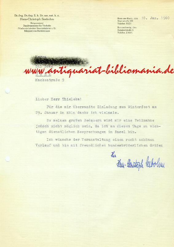 Brief mit eigenhändiger Unterschrift.: SEEBOHM, Hans-Christoph (