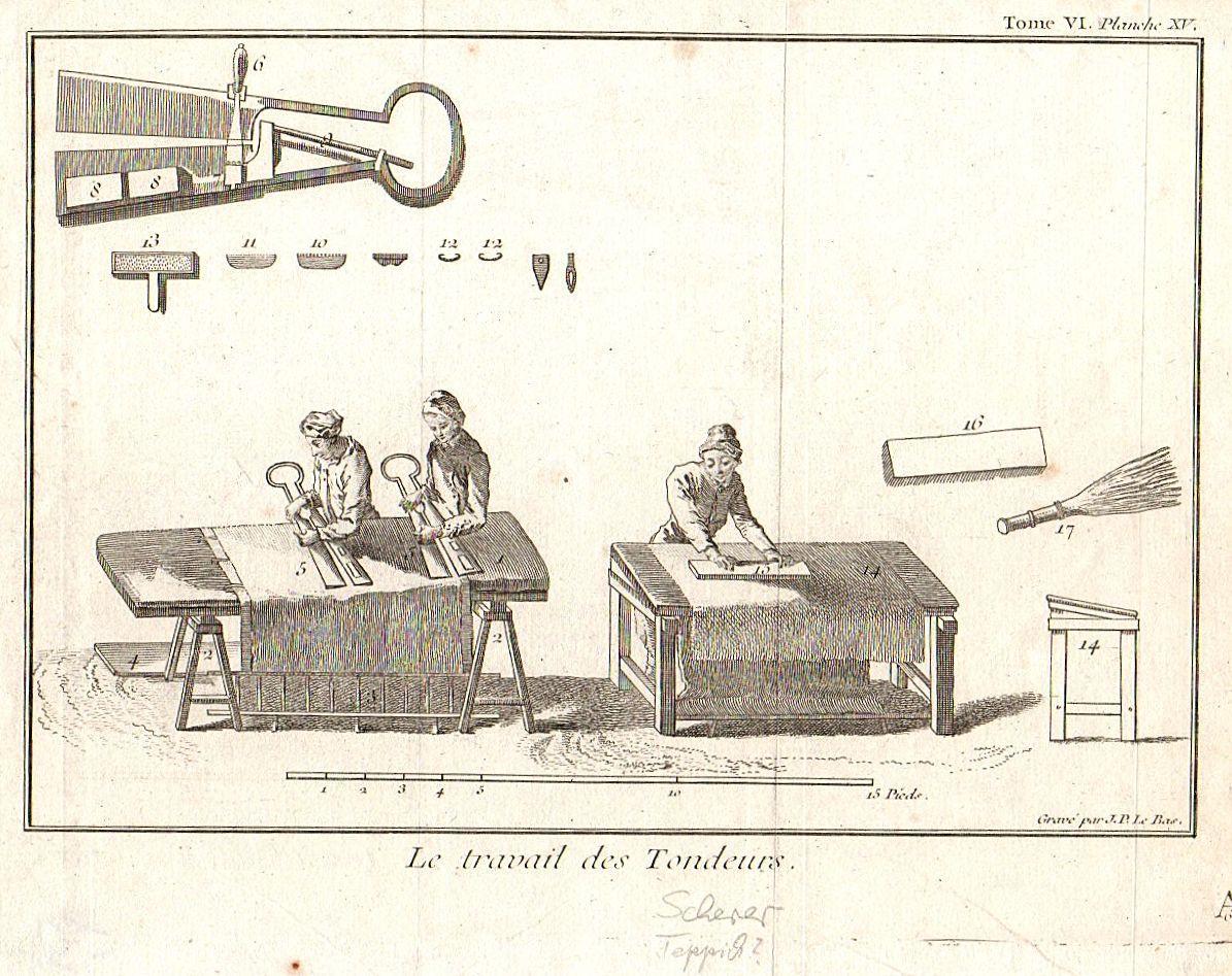 Le Travail des Tondeur. Scherer. Tome VI,: Kupferstich.