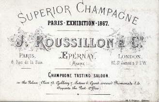 Superior Chamgagne. Paris-Exhibition 1867. J.Roussillon & Co.: Paris -