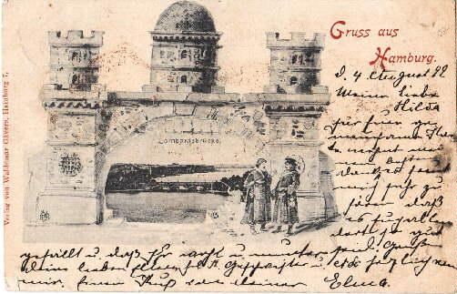 Lombardsbrücke. Ansichtskarte in Lichtdruck. Abgestempelt Hamburg-Borgfelde 03.08.1899.: Hamburg -