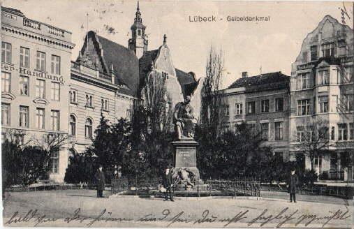 Geibeldenkmal. Ansichtskarte in Lichtdruck. Abgestempelt Lübeck 23.07.1917.: Lübeck -