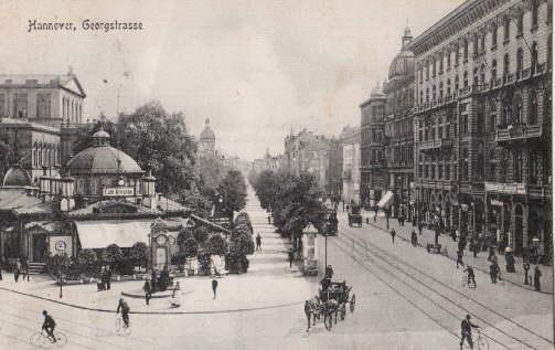 Georgstrasse. Ansichtskarte in Lichtdruck. Abgestempelt Hannover 25.07.1907.: Hannover -