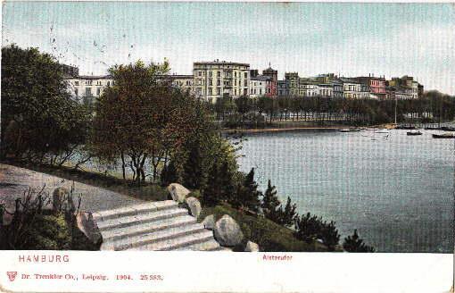 Alsterufer. Ansichtskarte in farbigem Lichtdruck. Abgestempelt Hamburg: Hamburg -