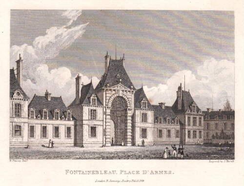 Place d`Armes. Stahlstich von J.Havell nach B.Ferrey.: Fontainebleau -