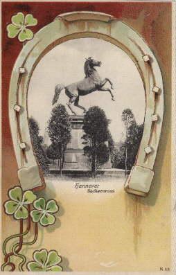 Sachsenross (im Hufeisen). Ansichtskarte in Farblithographie. Ungelaufen.: Hannover -