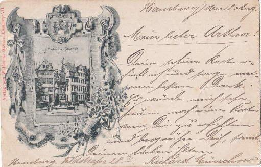 Vierländer Brunnen. Ansichtskarte in Lichtdruck. Abgestempelt 03.08.1899.: Hamburg -