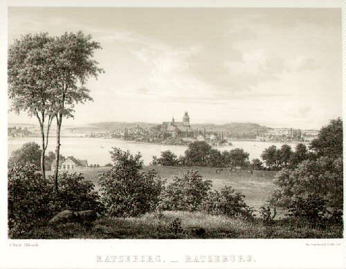 Gesamtansicht. Getönte Lithographie von J.Hellesen nach A.Nay,: Ratzeburg -