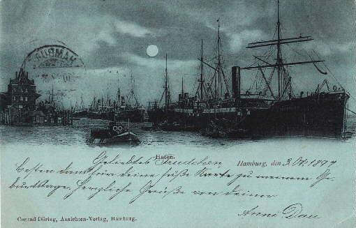 Hafen. Ansichtskarte in bläulichem Lichtdruck. Abgestempelt Hamburg: Hamburg -