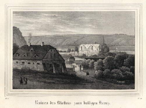 Ruinen des Klosters zum Heiligen Kreuz. Kreidelithographie: Meissen -