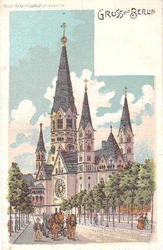 Gruss aus Berlin. Kaiser-Wilhelm-Gedächtnisskirche. Ansichtskarte in farbiger: Berlin -