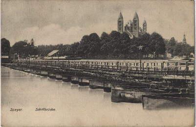 Schiffbrücke. Ansichtskarte in Lichtdruck. Abgestempelt Speyer 05.08.1909.: Speyer -