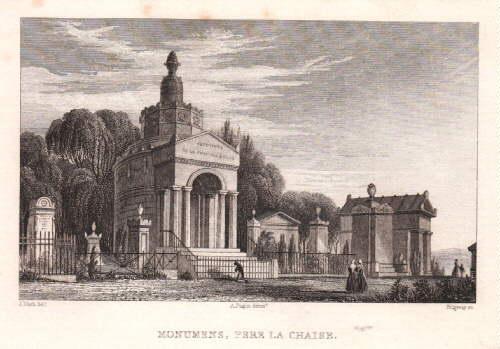 Pere la Chaise. Monumens. Stahlstich von Ridgeway: Paris -