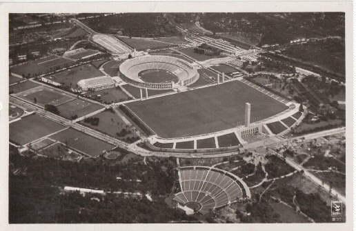 Gesamtansicht vom Reichssportfeld (Luftaufnahme). Ansichtskarte in Photodruck.: Berlin -