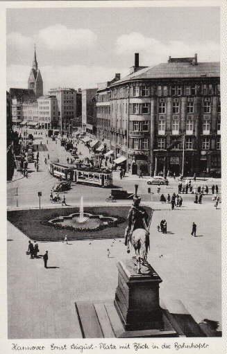 Ernst-August-Platz mit Blick in die Bahnhofstr. Ansichtskarte: Hannover -