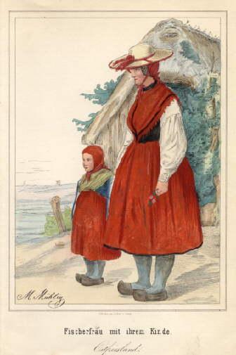Fischerfrau mit ihrem Kinde, Ostfriesland. Kolorierte Lithographie: Ostfriesland -