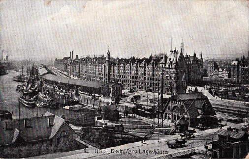 Quai, Freihafen & Lagerhäuser. Ansichtskarte in Lichtdruck.: Hamburg -
