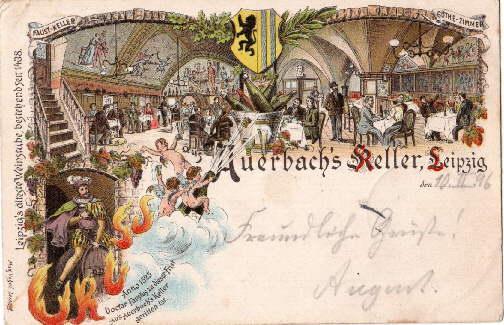 Auerbach`s Keller. Ansichtskarte in Farblithographie. Abgestempelt Leipzig: Leipzig -