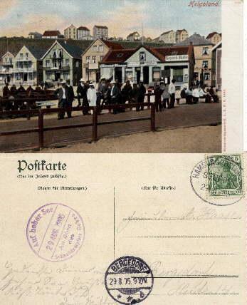 Häuser an der Promenade). Farbige Ansichtskarte. Abgestempelt: Helgoland -