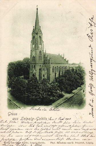 Gruss aus Leipzig-Gohlis. Kirche. Ansichtskarte in Lichtdruck.: Leipzig -