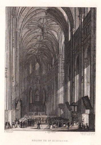 Eglise de St.Eustache. Innenansicht. Stahlstich von Fenner,: Paris -
