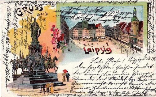 Gruss aus Leipzig. Zwei Ansichten (Marktplatz, Siegesdenkmal: Leipzig -