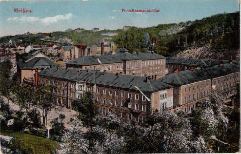 Porzellanmanufaktur. Ansichtskarte in farbigem Lichtdruck. Abgestempelt Meissen: Meissen -