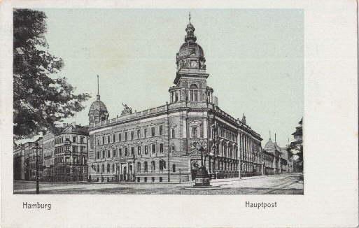 Hauptpost. Ansichtskarte in Lichtdruck auf bläulichem Grund.: Hamburg -