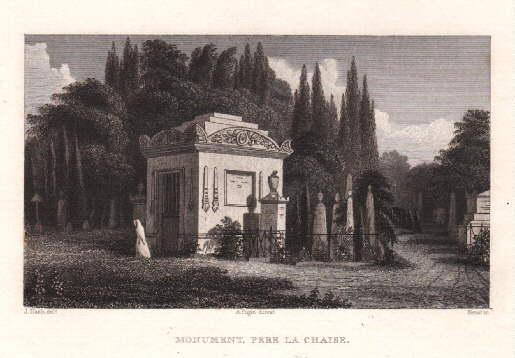 Pére la Chaise. Monument. Stahlstich von Kernet: Paris -