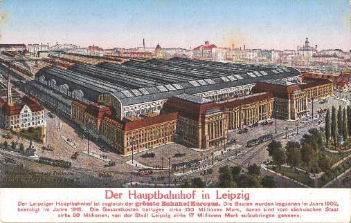 Der Hauptbahnhof in Leipzig. Ansichtskarte in farbigem: Leipzig -