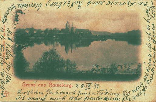 Gruss aus Ratzeburg. Ansichtskarte in Lichtdruck. Abgestempelt: Ratzeburg -