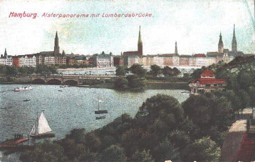 Alsterpanorama mit Lombardsbrücke. Ansichtskarte in farbigem Lichtdruck.: Hamburg -