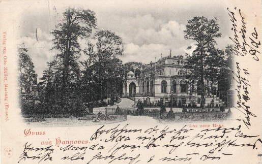 Das neue Haus. Ansichtskarte in Lichtdruck. Abgestempelt: Hannover -