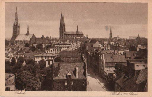 Blick vom Dom auf St.Petri- u. Marienkirche.: Lübeck -