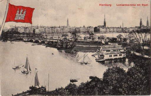 Lombardsbrücke mit Stadt. Ansichtskarte in Lichtdruck. Abgestempelt: Hamburg -