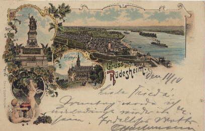 Ansichtskarte in Farblithographie. Gruss aus Rüdesheim. 3: Rüdesheim -