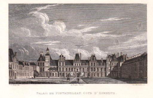 Palais de Fontainbleau. Cour de Honneur. Stahlstich: Fontainebleau -