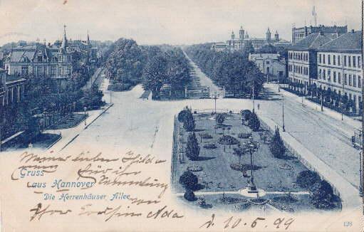 Gruss aus Hannover. Die Herrenhäuser Allee. Ansichtskarte: Hannover -