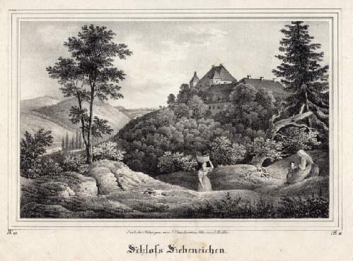 Siebeneichen. Ansicht des Schlosses. Lithographie von C.: Meissen -