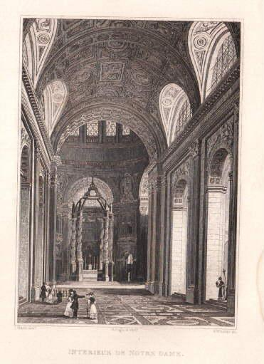 Interieur de Notre Dame. Stahlstich von B.: Paris -