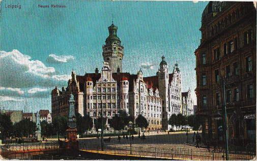 Neues Rathaus. Ansichtskarte in farbigem Lichtdruck. Abgestempelt: Leipzig -