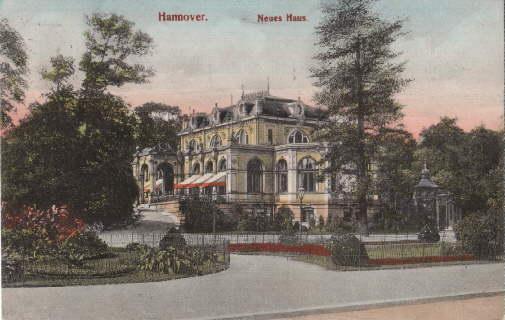 Neues Haus. Ansichtskarte in farbigem Lichtdruck. Abgestempelt: Hannover -