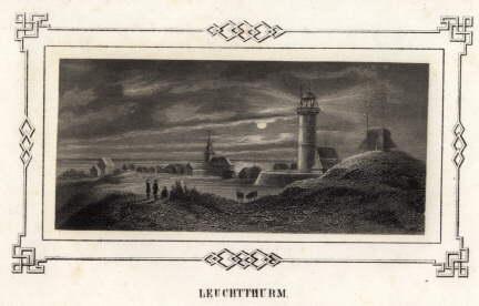 Teilansicht mit Leuchtturm. Stahlstich mit ornamentaler Bordüre: Helgoland -