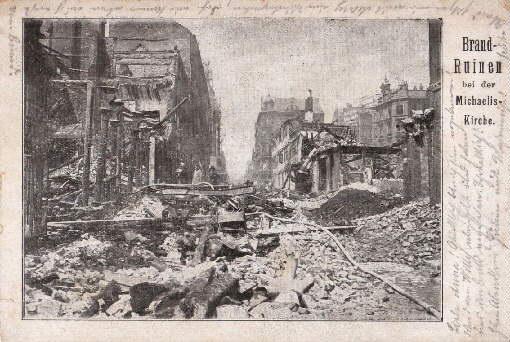 Brand-Ruinen bei der Michaeliskirche. Ansichtskarte in Lichtdruck.: Hamburg -
