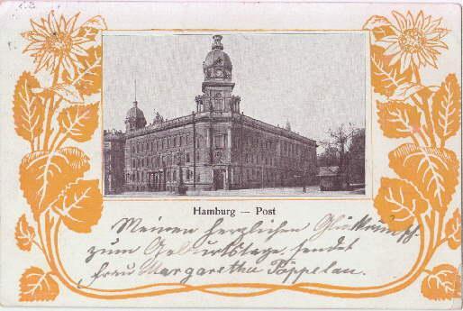 Post. Ansichtskarte in Lichtdruck, umgeben von ornamentaler: Hamburg -