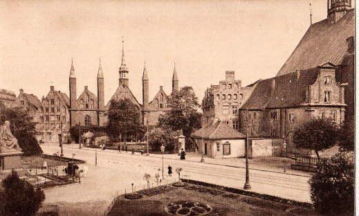 Heiligengeist-Hospital mit Geibelplatz. Ansichtskarte in Lichtdruck. Ungelaufen.: Lübeck -