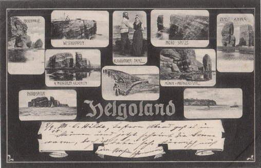 10 kleine Ansichten. Ansichtskarte in Lichtdruck. Abgestempelt: Helgoland -