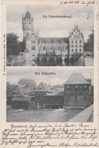 Zwei Ansichten (Die Flußwasserkunst, Alte Klickmühle). Ansichtskarte: Hannover -