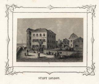Hotel Stadt London. Stahlstich mit ornamentaler Bordüre: Helgoland -