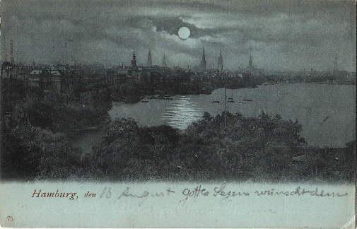 Gesamtansicht. Ansichtskarte in bläulichem Lichtdruck. Abgestempelt Hamburg: Hamburg -