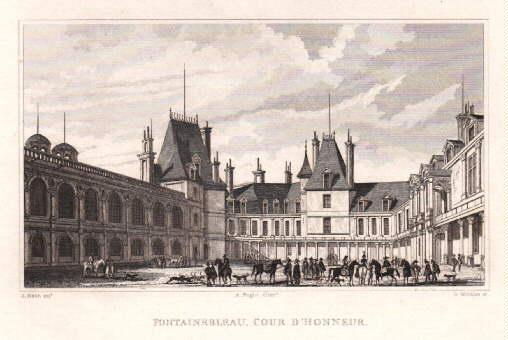 Cour de Honneur. Stahlstich von B.Winkles nach: Fontainebleau -
